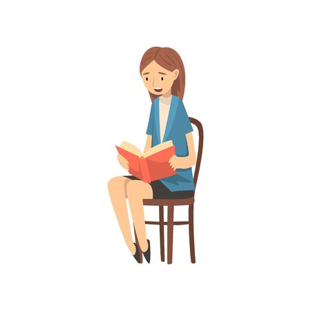 Teacher Sitting on Chair and Reading Book to Children Vector Illustration on White Background.