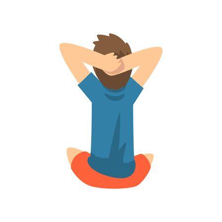 Garçon mignon assis sur le sol avec ses mains derrière sa tête, petite illustration vectorielle de caractère enfant d'âge préscolaire sur fond blanc. Vecteurs