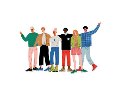 Group of People Hugging, Young Men and Women of Different Nationalities Standing Together Celebrating Event Vector Illustration on White Background. Ilustração