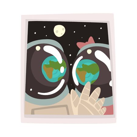 Portrait of Couple Astronauts in Love, Romantic Space Travelers Vector Illustration