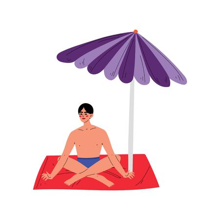 Young Man Sunbathing on his Towel Under Sunshade Parasol, Guy Relaxing on Beach on Summer Vacation Vector Illustration on White Background.