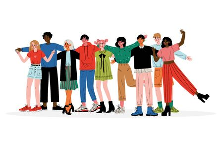 Group of Young People Hugging, Male and Female Friends of Different Nationalities Standing Together Vector Illustration on White Background.