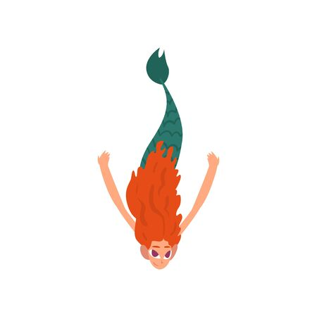 Cute Funny Little Red Haired Mermaid Swimming in Sea, Fairytale Mythical Creature Cartoon Character Vector Illustration on White Background.