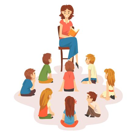 Group of Preschool Kids Sitting on Floor,Teacher Sitting on Chair and Reading Book to Children Vector Illustration on White Background.  イラスト・ベクター素材