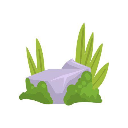 Rock Grey Stone mit Moos und grünem Gras, Naturlandschaft Design Element Vector Illustration auf weißem Hintergrund. Vektorgrafik