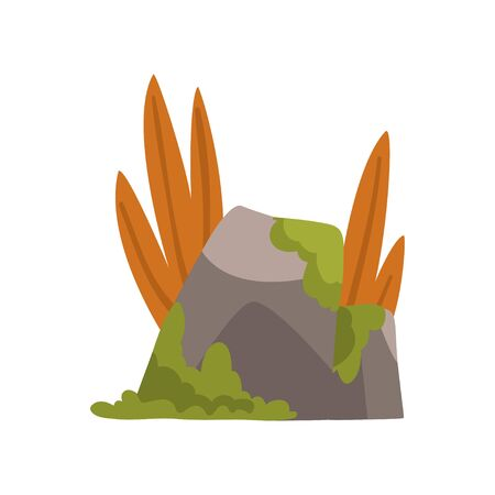 Rock Stones with Moss and Grass, Forest, Mountain Natural Landscape Design Element Vector Illustration on White Background.