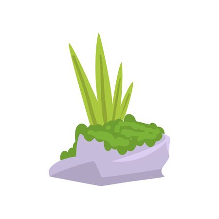 Rock Gray Granite Stone with Moss and Green Grass, Natural Landscape Design Element Vector Illustration on White Background.