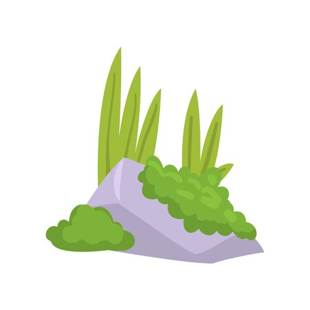 Rock Granite Stone with Moss and Green Grass, Natural Landscape Design Element Vector Illustration on White Background. Çizim