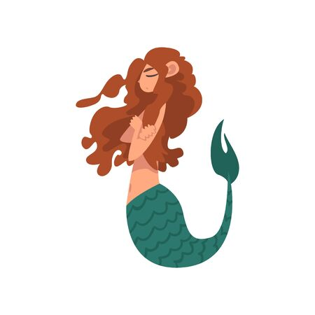 Cute Little Mermaid Swimming with Folded Hands, Fairytale Mythical Creature Cartoon Character Vector Illustration on White Background. Ilustração