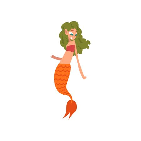 Cute Little Mermaid with Green Hair and Orange Tail, Fairytale Mythical Creature Cartoon Character Vector Illustration on White Background. Illustration