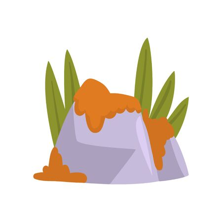 Rock Stones with Orange Moss and Green Grass, Natural Landscape Design Element Vector Illustration on White Background. Иллюстрация