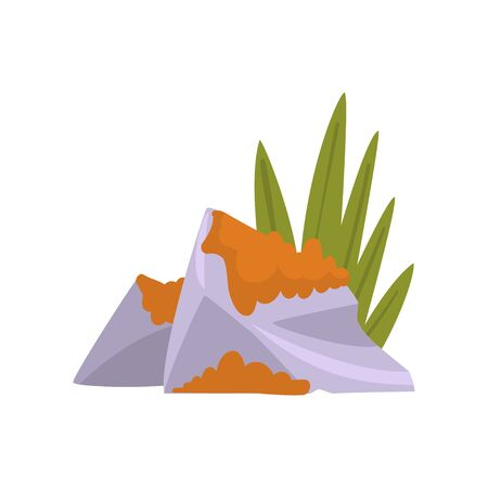 Granite Boulder with Grass and Moss, Natural Landscape Design Element Vector Illustration on White Background.