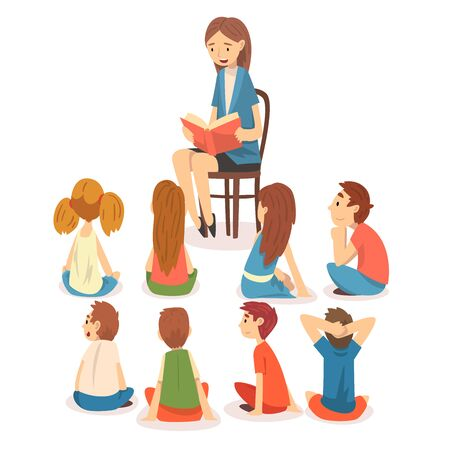 Grupa dzieci w wieku przedszkolnym siedzi na podłodze i słuchania nauczyciela, który czyta książkę wektor ilustracja na białym tle. Ilustracje wektorowe