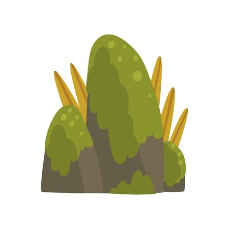 Rock Stones with Green Moss, Forest, Mountain Natural Landscape Design Element Vector Illustration on White Background.