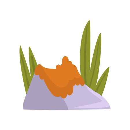 Rock Gray Granite Stone with Orange Moss and Green Grass, Natural Landscape Design Element Vector Illustration on White Background.