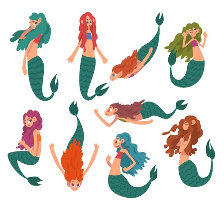 Collection of Cute Little Mermaids, Funny Fairytale Mythical Creatures Cartoon Characters Vector Illustration on White Background.