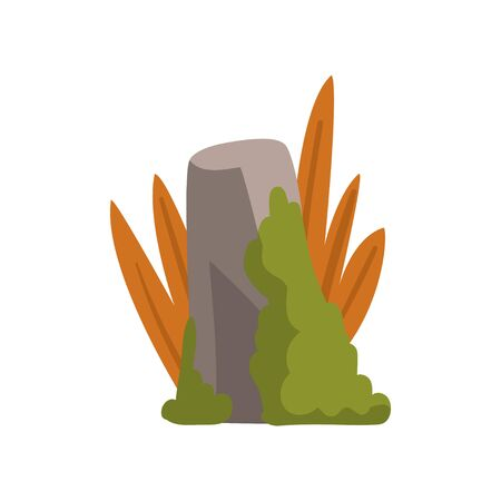 Rock Grey Stone Boulder with Moss and Grass, Forest, Mountain Natural Landscape Design Element Vector Illustration on White Background.