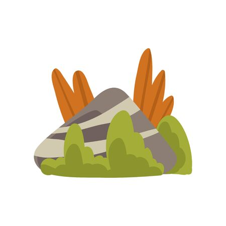 Granite Boulder with Grass, Natural Landscape Design Element Vector Illustration on White Background. Ilustração