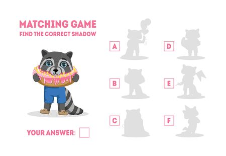 Educational Matching Game for Preschool Kids, Find the Correct Shadow with Cute Raccoon Animal Vector Illustration