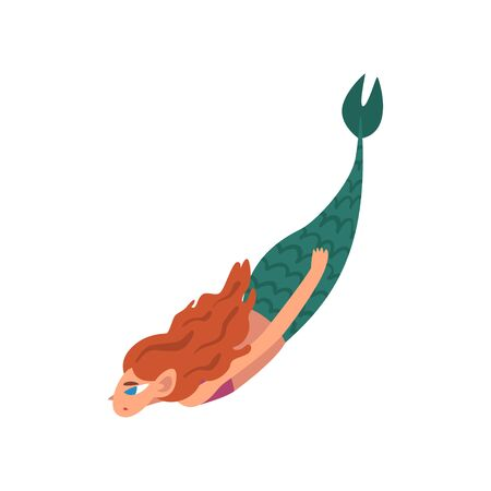 Cute Little Red Haired Mermaid Swimming in Sea, Fairytale Mythical Creature Cartoon Character Vector Illustration on White Background. Illustration