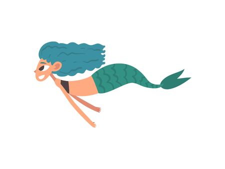 Cute Happy Smiling Little Mermaid Swimming, Fairytale Mythical Creature Cartoon Character Vector Illustration on White Background.
