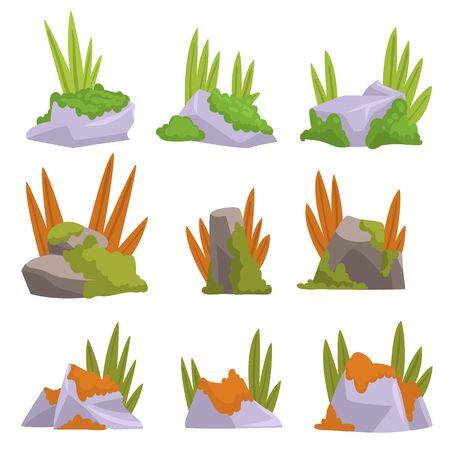Sammlung von Rock Stones mit Moos und Gras, Naturlandschaft Design Elements Vector Illustration auf weißem Hintergrund. Vektorgrafik