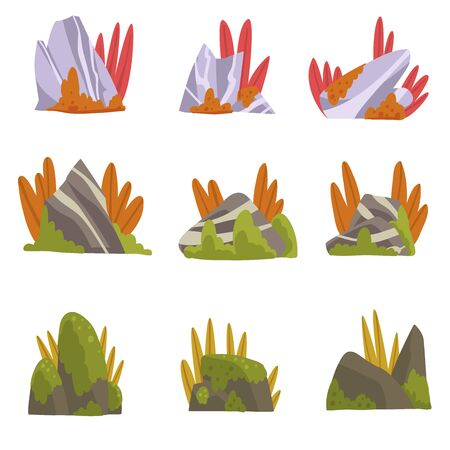 Collection of Rock Stones with Moss and Grass, Forest, Mountain Natural Landscape Design Element Vector Illustration on White Background.