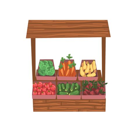 Market Wooden Counter with Fresh Ripe Vegetables, Street Shop Showcase Vector Illustration on White Background. Illustration