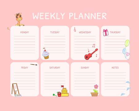 Kids Weekly Planner, Calendar Daily Pink Template, Organizer and Schedule with Place for Notes Vector Illustration, Web Design.