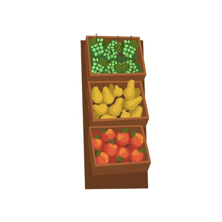 Market Wooden Counter with with Fresh Natural Organic Fruits, Street Shop Showcase Vector Illustration