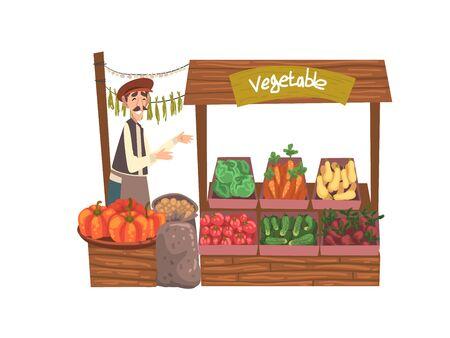 Gemüse lokaler Bauernmarkt mit frischen natürlichen Bio-Produkten auf der Theke, Street Shop, männlicher Verkäufer, der frisches Gemüse-Vektor-Illustration auf weißem Hintergrund verkauft. Vektorgrafik