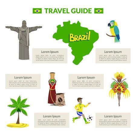 Travel Guide, Brazil Cultural Travel Information Banner or Landing Page Template Vector Illustration, Web Design. Archivio Fotografico - 128164651