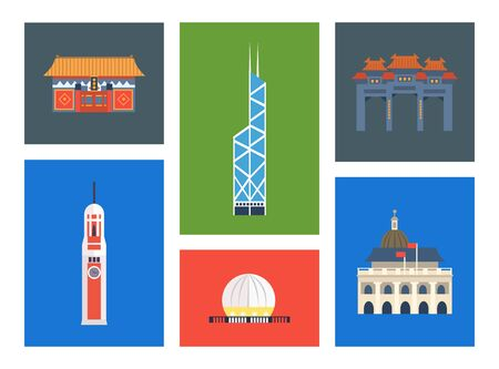 Hong Kong City Landmarks Set, Chinese Cultural Elements Vector Illustration, Web Design.