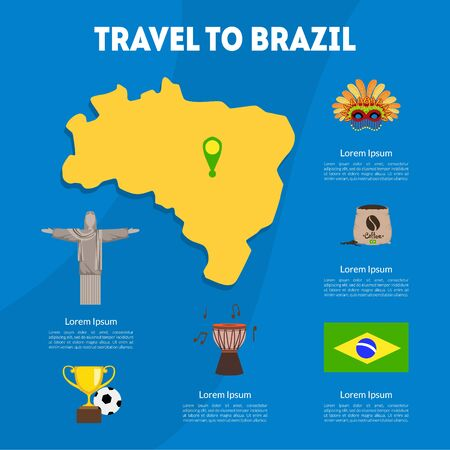 Travel to Brazil Cultural Travel Information Banner or Landing Page Template Vector Illustration Archivio Fotografico - 132147226