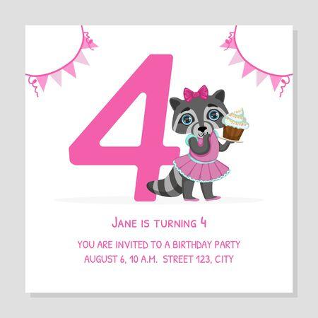 Happy Birthday 4 Years Banner Template, Birthday Anniversary Number with Cute Raccoon Girl Animal, Bright Festive Vector Illustration Standard-Bild - 125187120