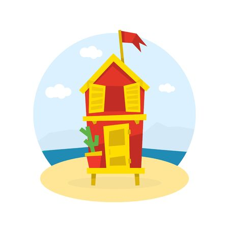 Wooden Bungalow with Flag on Tropical Coast of Sea, Seaside Holiday Vector Illustration on White Background. Ilustração