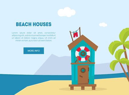 Wooden Bungalow on Tropical Coast, Sea Beach Beautiful Landscape, Seaside Holiday Banner, Landing Page Template Vector Illustration