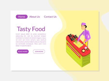 Tasty Food Banner, Landing Page Template, Culinary School, Food Studio, Cooking Class or Courses Website Vector Illustration, Web Design.