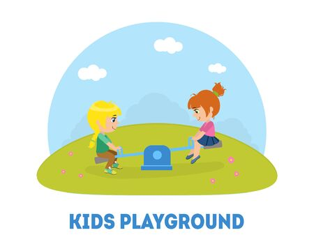 Kids Playground Banner Template, Kids Having Fun at Playground, Two Girls Swinging on Seesaw Vector Illustration on White Background.