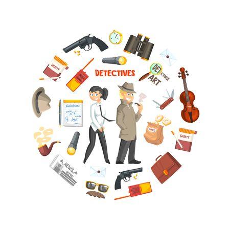 Modello dell'insegna dell'investigatore privato, agenzia investigativa, indagine sulla criminalità, investigatori con attrezzature in illustrazione vettoriale di forma circolare, web design.