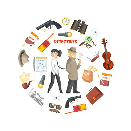 Private Detective Banner Template, Detective Agency, Crime Investigation, Investigators With Equipment in Circular Shape Vector Illustration, Web Design.