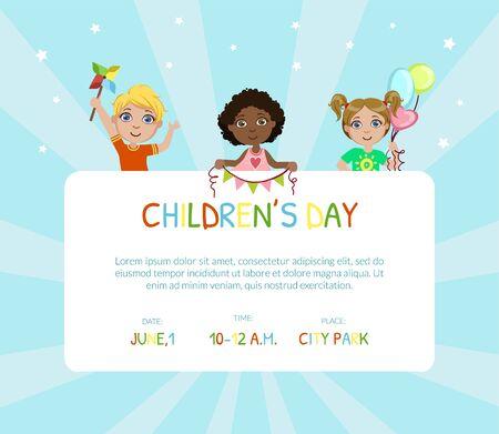 Banner del día del niño, folleto o plantilla de tarjeta de invitación con lugar para la ilustración de Vector de texto, diseño web. Ilustración de vector