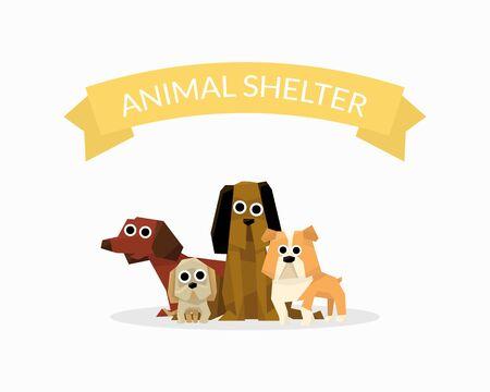 Animal Shelter Banner Template, Dog Help Poster, Pet Care, Adoption, Donation Vector Illustration