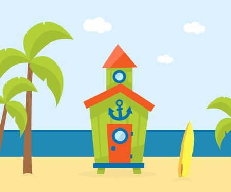 Wooden Bungalow on Tropical Coast, Sea Beach Beautiful Landscape, Seaside Holiday Banner Template Vector Illustration, Web Design.