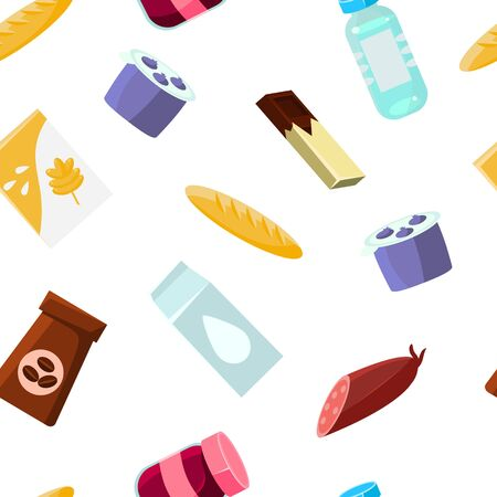 Everyday goods and food products Seamless Pattern, Design Element Can Be Used for Fabric, Wallpaper, Packaging, Background Vector Illustration.