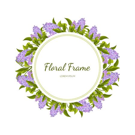 Lilac Flowers Round Frame Card Template with Blooming Flowers, Elegant Floral Banner, Poster, Wedding Invitation, Greeting Card Vector Illustration