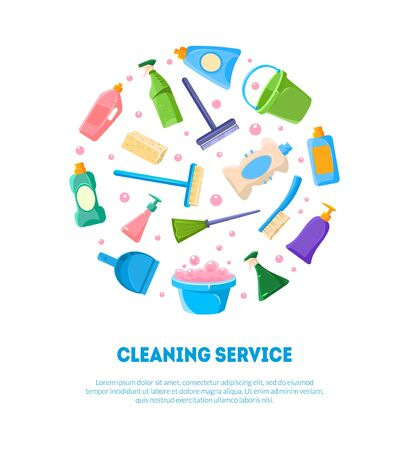 Cleaning Service Banner Template, Various Cleaning Tools and Detergents Products in Circular Shape Vector Illustration Illustration