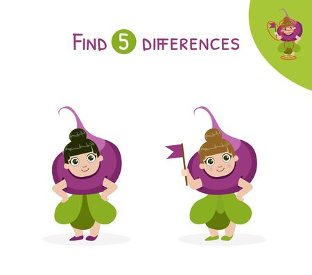 Find Differences, Educational Game for Kids Vector Illustration, Web Design.