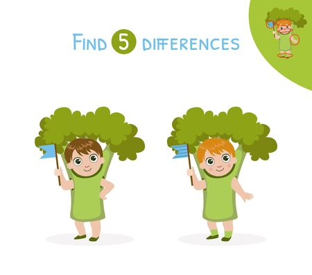 Find Differences, Educational Game for Kids, Cute Girl in Broccoli Costume Vector Illustration Illustration