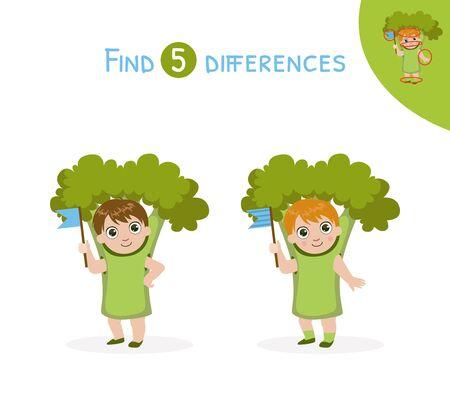 Trouver les différences, jeu éducatif pour les enfants, jolie fille en costume de brocoli Illustration vectorielle